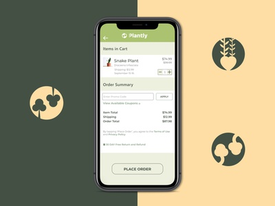 Payment Page for plant ordering app illustration strategy growth product design ux design ui design ux ui
