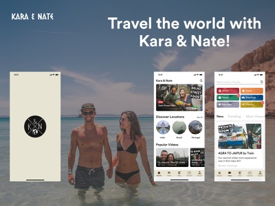 Kara & Nate's App strategy product growth backpacking travel app ux design ui design vlog home page splash screen