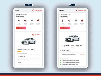 Redesigned Car Registration Input verification automobile app design product design product growth strategy ux design ui design