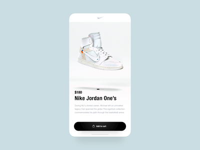 Nike App - 3D Checkout shopping shop ecommerce nike shoe aftereffects c4d 3d app transition ux ui animation design concept