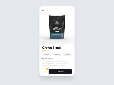 Lonely Astronaut Coffee - E-commerce product coffee ecommerce aftereffects c4d 3d transition ui ux animation design app