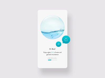 Water Balancer - Interaction tracking water clean app transition ux concept ui animation design