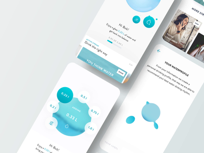 Water Balancer - App tracking water clean app transition ui ux concept animation design