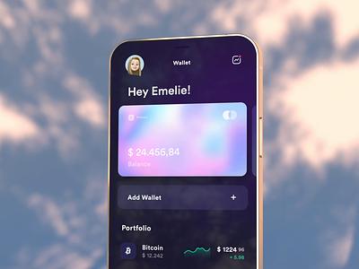 Bitcoin Wallet - App ux ui design banking gradient stock trading finance cinema4d 3d theme dark concept app animation wallet bitcoin