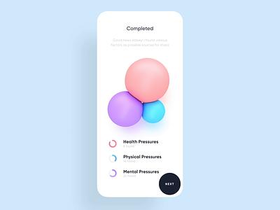 Snug Yourself - Recognizing Stress Sources bubbles colorful fresh design profile statistics calculation stress app ux concept branding 3d animation ui