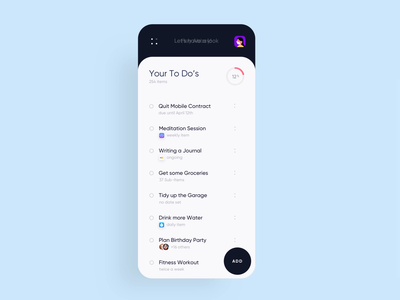 Snug Yourself - To Do List Adjustment colorful list to do dashboard stress ux concept cinema 4d bubbles branding 3d animation ui
