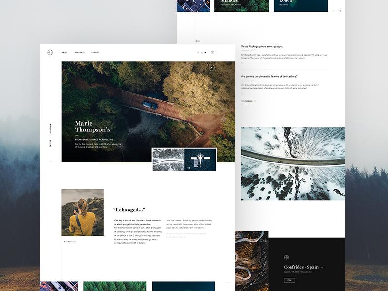 Marie Thompsen - Photography/Portfolio Website biography portfolio topview header web design slider website blog photography