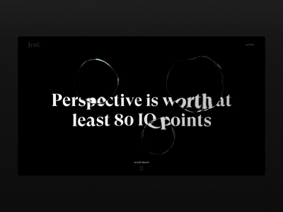 Bubbles Warp Transition dark ui dark glass c4d cinema4d interaction landing page web design transition ux ui website