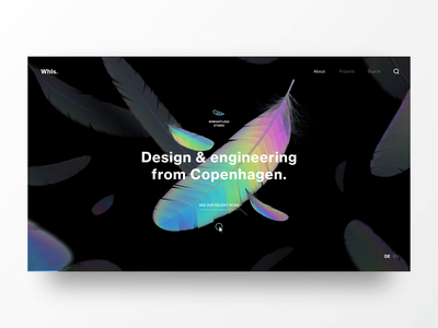 Lightweight Hero Interaction logo feathers aftereffects c4d 3d transition ui ux web website animation concept design