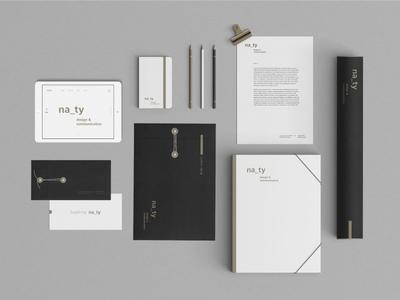 na_ty stationary branding minimal monochrome gold typography stationary print logotype logo identity card business branding