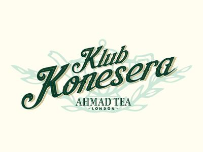 Ahmad Tea Club emblem stamp victorian vintage retro tea logo script lettering