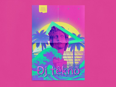 A Door Called Horse / DJ Party event poster pastels illustration vector typography poster retro retrowave vapor vaporwave design