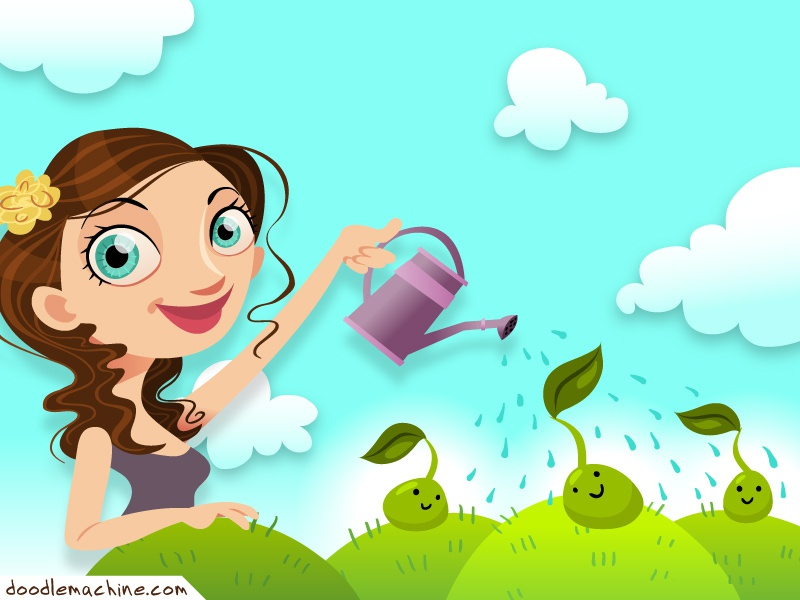 Little Sprouts illustration art character vector drawing cute girl nature sprout child pretty