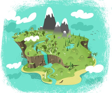 Paradise illustration art vector drawing cartoon character robot mascot doodlemachine commission website design scene landscape map island land rock forest trees clouds ocean river waterfall beautiful