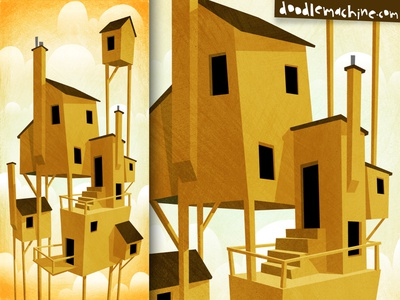High Homes suburb neighbors city weird abstract surreal construction home house painting illustrator freelance vector commission drawing art illustration