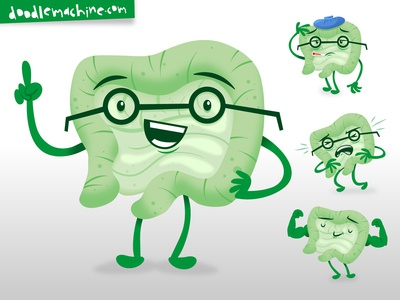 """""""Gut Guy"""" cute smart stomach pain sick strong health healthy microbiome probiotic gut logo illustrator commission freelance mascot cartoon character art illustration"""