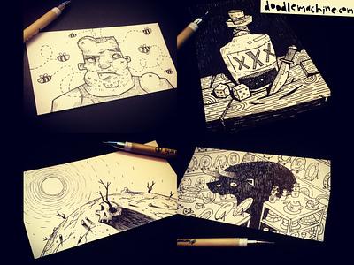 Inktober Day 17-20 pirate skull desert sting bee swollen bottle bull sketchbook sketch inktober 2017 pen doodle inktober 2016 illustrator freelance cartoon drawing art illustration