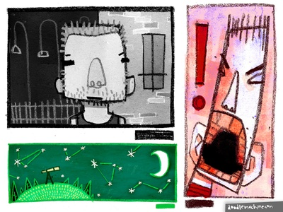 Dusty Doodles stargazing sky night jail city criminal thug angry mad rage screaming crayon conte sketchbook sketch character cartoon drawing art illustration