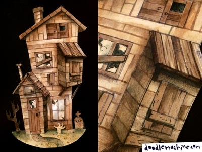 Haunted House Cutout watercolour afraid haunted mansion haunted house broken zombie dilapidated abandoned horror scary spooky house haunted cutout painting drawing art illustration