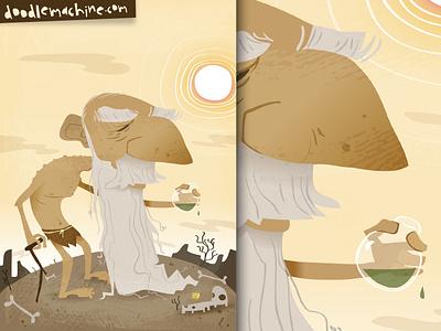 """Potion of Old"" death desert curse magic spell oldman character cartoon freelance vector elderly old potion drawing illustration"