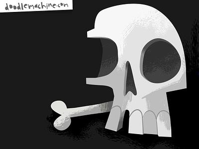 Happy Halloween! death dead scary spooky bone bones skeleton halloween skull painting cute illustrator freelance vector commission character cartoon drawing art illustration