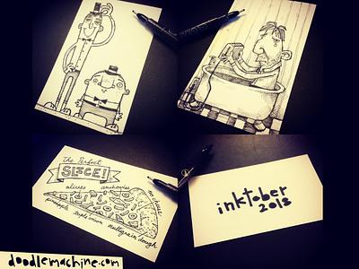 Inktober Day 29-31 double twins depressed depression suicide jolt pizza slice inktober doodlemachine doodle sketchbook sketch pen and ink penandink ink pen drawing illustration
