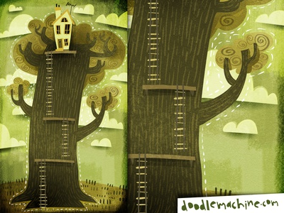 Treehome treehouse tree house green weird scene story painting whimsical cute illustrator freelance vector commission cartoon drawing art illustration