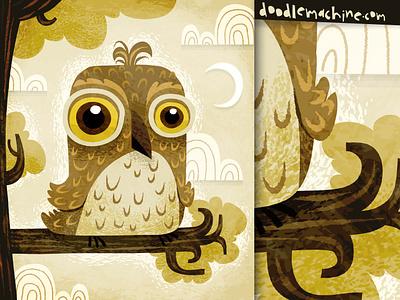 Night Owl flying animal animals nature night bird owl story painting whimsical cute illustrator freelance vector commission character cartoon drawing art illustration