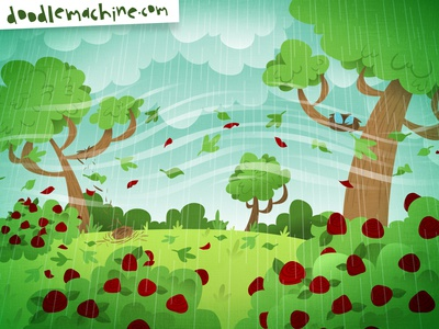 Windy! rosebush rose trees clouds weather storm spring wind scene story whimsical cute illustrator freelance vector commission cartoon drawing art illustration