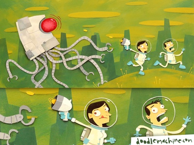 """""""Don, Leena, and the Robot Squid"""" monster running alien planet space squid robot story cute painting whimsical illustrator freelance commission character cartoon drawing art illustration"""