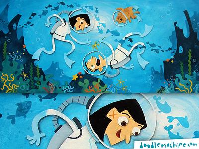 Don, Leena, under the Sea fish cat swimming ocean scuba diving scuba girl scene story painting whimsical cute illustrator freelance commission character cartoon drawing art illustration