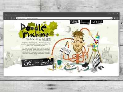 Doodlemachine.com portfolio website branding typography ui design mascot story whimsical cute illustrator freelance vector commission character cartoon drawing art illustration