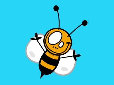 bee honey happy fly yellow black inscect eyes smile illustration design blue illustration cute pieloot bee