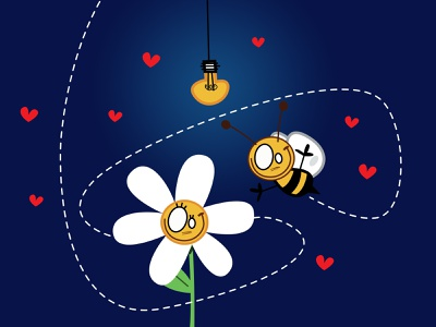 the flower and the bee sex education baby anouncement babyshower nine months bedroom parents character design illustration flower and the bees kids hearts smile pieloot yellow light baby cute love bee flower