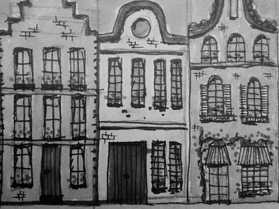 Dutch houses drawing pencil skyline city yellow design pieloot sketch dutch house illustration