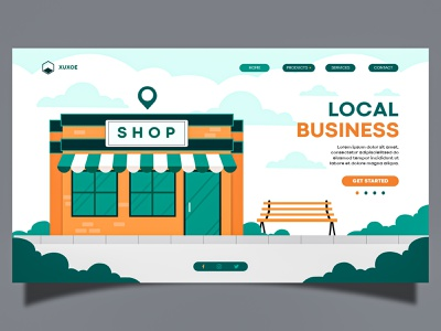 Local Bussiness design vector uiux landingpage illustration adobeillustator webdesign adobexd uidesign uiuxdesign