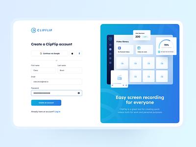 ClipFlip - tool for creating videos video tool app illustration ui designer design webapp blue