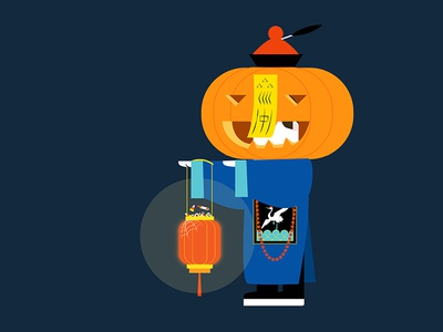 Happy Halloween from Chinese Hopping Vampire! character design illustration cute candy ancient pumpkin lantern jiangshi vampire hopping vampire chinese halloween