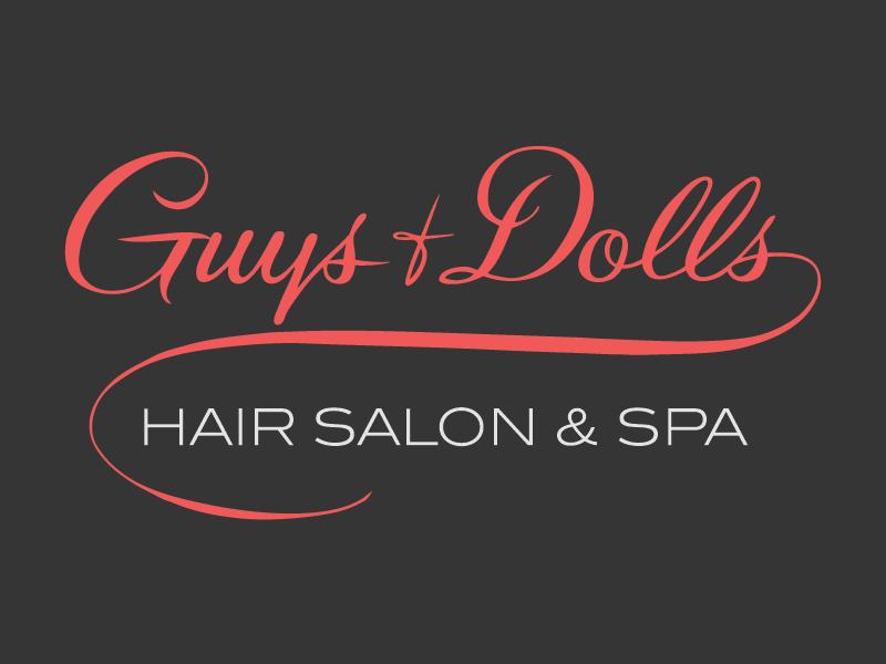 Guys And Dolls Logo handmade vector red hair salon script vintage logo business cards cards salon