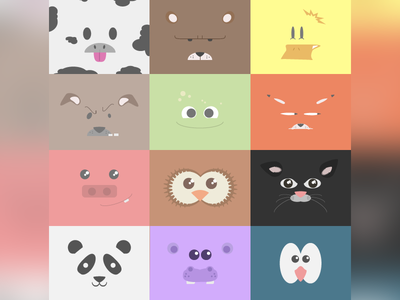 Cute Vector Animals character flat design flat adorable cute animals animal vector