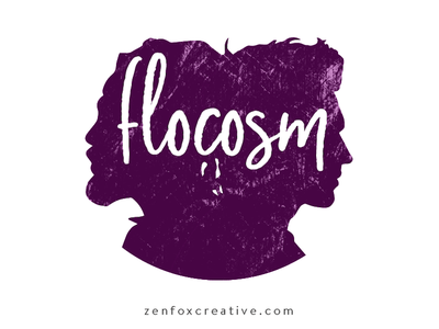 Flocosm logo design textured plum purple band logo hiphop music logo