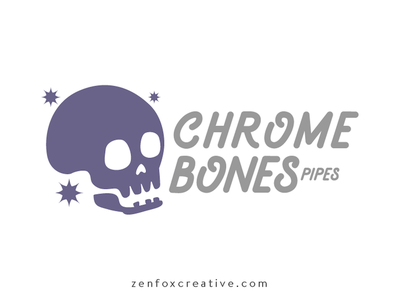 Chrome Bones Pipes logo 420 tobacciana gray silver chrome purple skulls skull pipes pipe logo