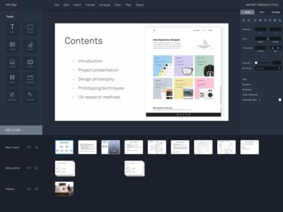 Presentation maker dynamic storytelling design tool slides presentation ux ui darkui desktop
