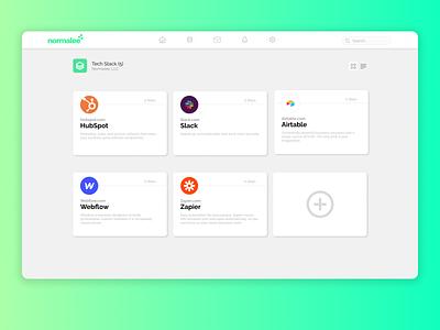 Tech Stack UI Cards minimal ui design app design hubspot slack green gradient app card