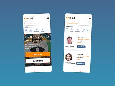 hirestaff App app hiring work job design app design gradient ui adobe xd