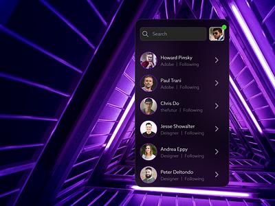 Friend's List neon app design app design ui adobe xd