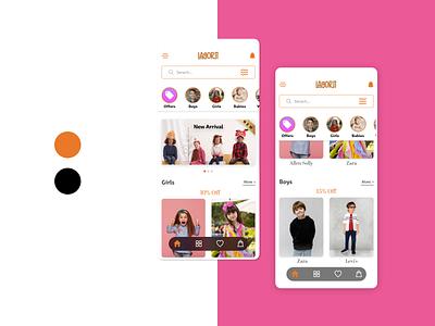 Kid's Fashion Mobile App shadow button menu app ui app design app design ui adobe xd
