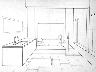 Bathroom Sketch In Perspective By Bryant Littrean Dribbble