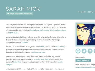 New Website sarah mick design web design html css redesign web