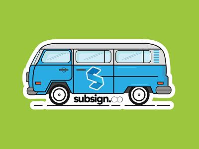 Van Sticker mystery machine simple illustration vw hippie green blue subsign van sticker